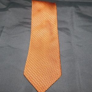 Ermenegildo Zegna Orange & Brown Geometric Tie